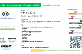 Dynamics NAV – Introduction au développement C/Side – 4 mars 2019