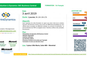 Microsoft Dynamics 365 Business Central – introduction – 3 avril 2019