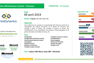 Dynamics 365 Business Central – Module Finances – 09 avril 2019